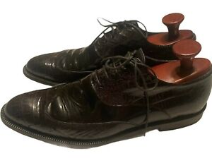 Gianni Versace Mens Black Patent and Croc Textured Oxford Shoes Size 43 USA 10