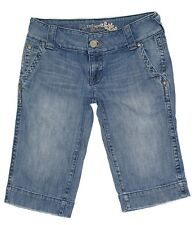 Refuge Distressed Crop Junior Womens Jeans Size 9 30x14 Low Rise Stretch Denim