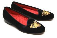 Polo Ralph Lauren Mens Smoking Loafers 8.5 Black Velvet Fox Hunt Horn Embroidery