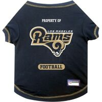 Los Angeles Rams Officially Licensed NFL Dog Pet Tee Shirt, Navy Blue XS-XL