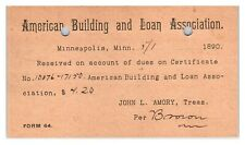 1890 American Building and Loan Association, Minneapolis, MN Postal Card *5U(2)3