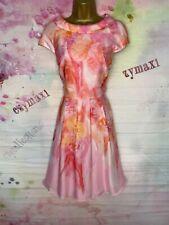 Ted Baker 'Aiyana' ajuste de la Impresión Floral Rosa N Llamarada Vestido Talla 3 Reino Unido 12