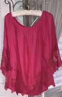 NEW Plus Size 1X Pink Peasant Blouse Lace Crochet Top Shirt