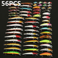 56pcs Lot Mixed Minnow Fishing Lures Bass Baits Crankbaits Fish Hooks Tackle RA