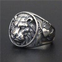 NEW STAINLESS STEEL SILVER ROUND LION HEAD KING SHIELD BIKER SKULL CROSS RING