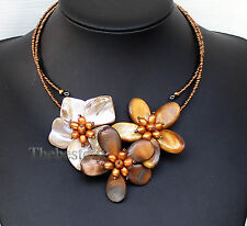 handmade shell pearl flower necklace Statement Bib Chain Necklace