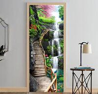3D Waterfall Trestle Bridge Self-Adhesive Door Murals Wall Sticker Bedroom Decal