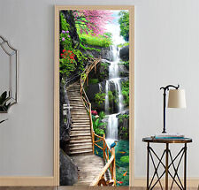 3D Waterfall Trestle Bridge Self-Adhesive Door Murals Wall Sticker Bedroom Decal