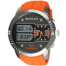 Henley Mens EXTRA BIG Orange Ana-Digi Watch Multi Function Dual Time Chronograph