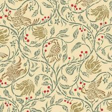 Dolls House Birds & Berries Cream Miniature Print Wallpaper 1:12 Scale