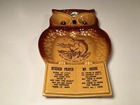 Vintage Owl Spoon Rest Ocean City Maryland White Marlin Kitchen Prayer Plaque