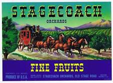 Stagecoach, original california pear crate label, horse drawn carriage, orchard