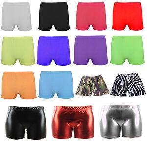Girls KIDS Ladies Neon Metallic Hot Pants Summer Shorts Dance Gym Tutu  pant
