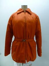 Vtg Tempco Goose Down puffer orange belted zipUp winter hooded Coat womens sz 12