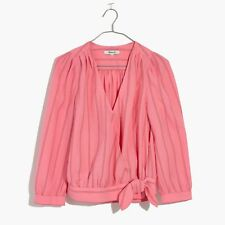 NWT Madewell Wrap Top Blouse Pink Stripe XS Extra Small