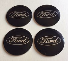 FORD Wheel Centre Hub Cap Emblems Badges Stickers 57mm full Set of 4 Black