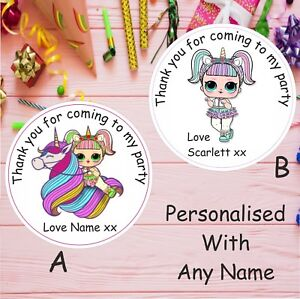 48 Personalised LOL Unicorn Dolls Birthday Party  Thank You Sweet Cones Stickers