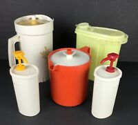 Lot of 5 Vintage Tupperware 3 Pitchers w/ Catsup and Mustard Pump Dispensers
