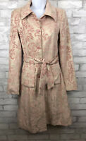 Taunt Blush Pink Floral Tapestry Formal Long Belted Jacket Size Small