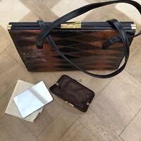 Ackery London Vintage 1960s Leather & Faux Skin Handbag Bag & Purse/Mirror