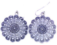Vintage retro style antique silver coloured daisy plate dangle earrings