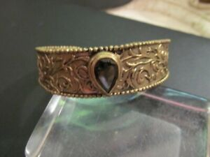 Sara Blaine Brass CUFF Bracelet Center Bezeled Smoky Quartz Teardrop Stone