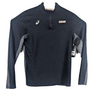 WAVES Womens 1/4 Zip Track Jacket  Sz Medium Black Gray Heather ASICS Sweatshirt
