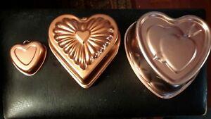 "7 Piece Heart Shaped ""Copper"" Jello / Cake Molds Country Kitchen Decor Hearts"