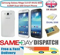 Samsung Galaxy Mega 5.8 GT-I9152 8GB 8.0MP Dual SIM Smart Phone - White & Black