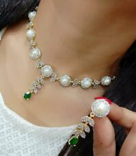 Indian Pakistan Bollywood American Diamond Necklace Earings Green  Party Wear