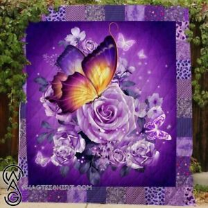 Butterfly And Purple Flower Fleece Blanket, Quilt Blanket Printing in US NEW