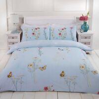 "Rapport ""Laura"" Floral Butterfly Reversible Duvet Cover Bedding Set Blue"
