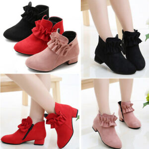 Fashion Girls Princess Ankle boots Children Kids High Heels Shoes Party Wedding