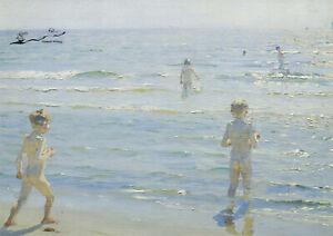 Postkarte: Kroyer - Badende Knaben im Sonnenschein / 1892