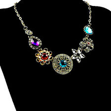 Glamorous RHINESTONE Medallion Flower Betsey Johnson Statement Necklace