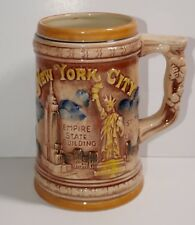 ENCO 1978 New York City Beer Stein Mug Twin Towers Statue of Liberty Empire
