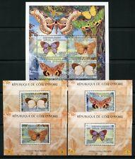 Côte d'Ivoire Ivory Coast 2005 Papillons Butterflies Papillon Bloc 84-88