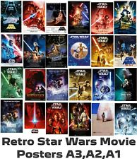 More details for star wars retro film posters - a3 a2 a1 - high quality gloss hd prints