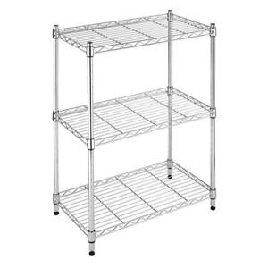 Whitmor Deluxe Rack Collection 23.15 in. x 29.9 in. Small 3-Tier Shelving,Chrome
