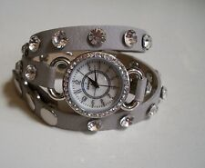 Gray Wrap Around with Bling Sparkly Rhinestones Crystals Fashion Women's Watch