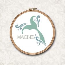 Mermaid Tail Fish Beach Art Imagine Quote Text Counted Cross Stitch Pattern