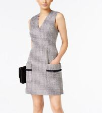 NEW(J003-35) Anne Klein Tweed V-Neck Shift Dress Black/White Sz 14 $159