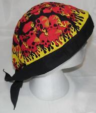 skull cap hat do du doo rag red skulls & yellow flames sweat band USA made A
