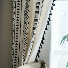 Window Rod Pocket Print Curtains Blackout Tassels Cotton Linen Home Decor Modern