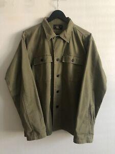 RRL Work Shirt Olive M Ralph Lauren Beautiful Military Jacket 107 HBT
