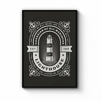 Vintage Lighthouse Sign Coastal Nautical Wall Art Print Poster Framed or Canvas