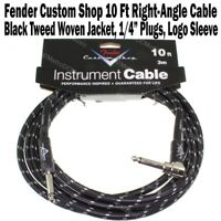 Fender Custom Shop 10 ft Black Tweed Instrument Guitar Cable Right Angle NEW