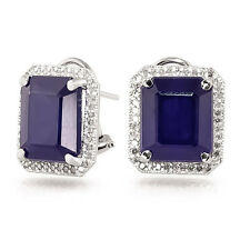 Octagon Cut 12.80 Ct Earring Solid 14K Hallmarked White Gold Earring Saphire