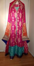 Pakistani Indian Wedding Mehndi Party Wear Bridal Lehenga Long Maxi Open Gown