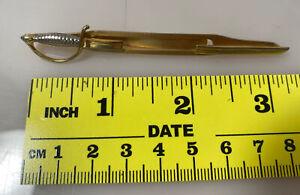 Vintage Swank Brass Sword Tie Clip Silver Handle Tie Bar GUC